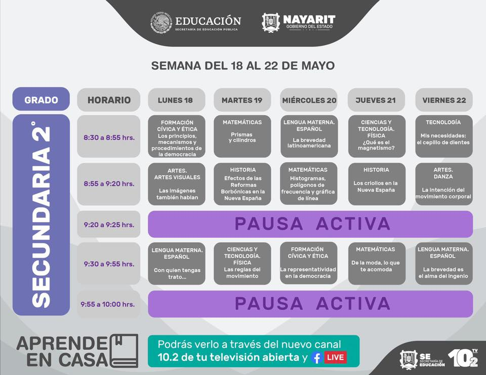 SECUNDARIA 2DO 18 AL 22 MAYO